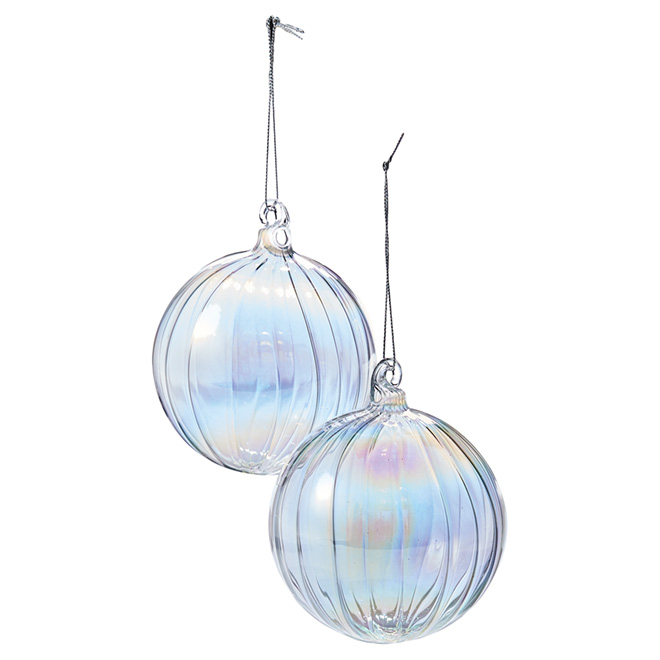 iridescent christmas ornaments transparent pack of 4