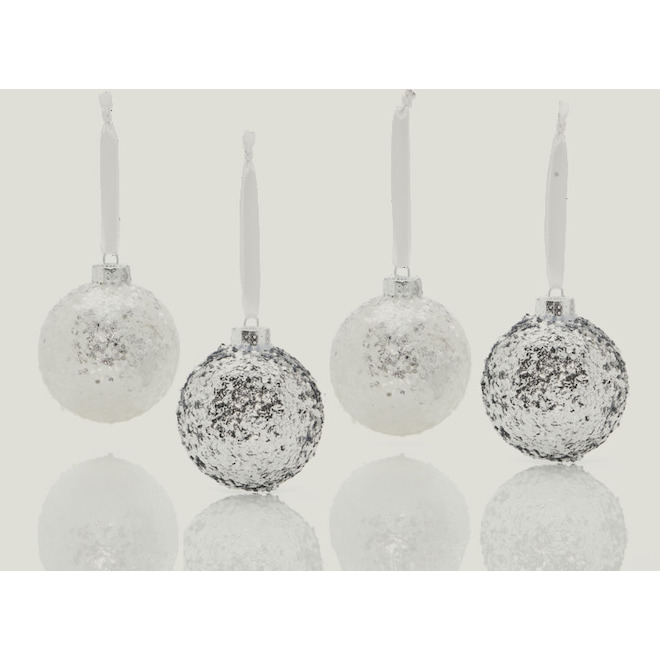 Holiday Living Glitter Christmas Ball Ornaments - Snow Angel - Foam - White and Silver - 4/Pack