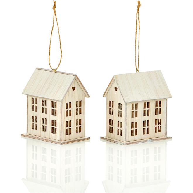 Ornements en forme de maison Holiday Living, blanc délavé 2-paquet