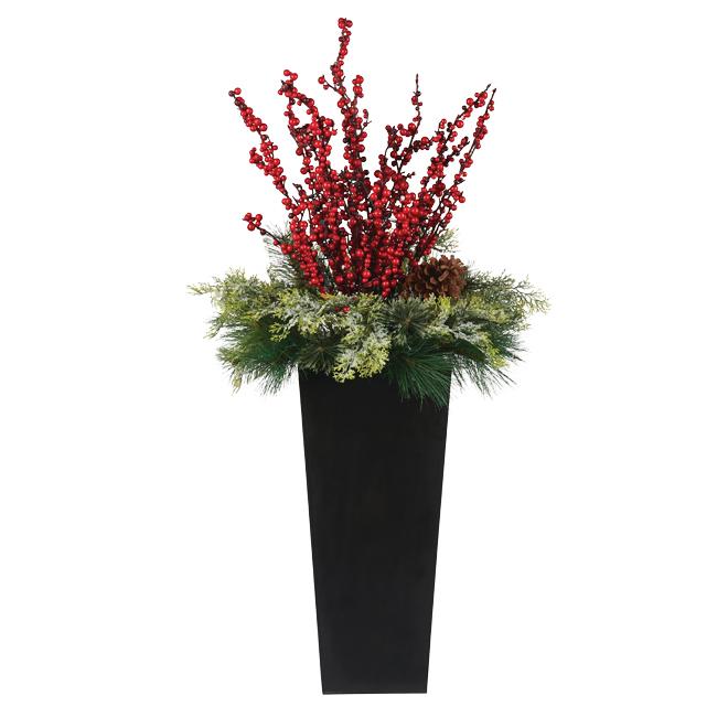 Xmas Floral Arrangement - 50 White LED Lights - 4'