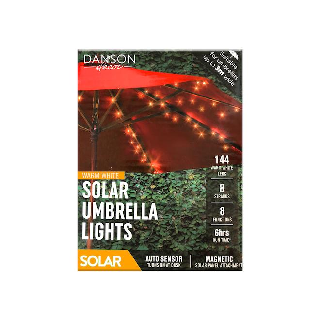 Jeu de 144 lumières solaires DEL pour parasol avec panneau solaire Danson Decor, blanc chaud