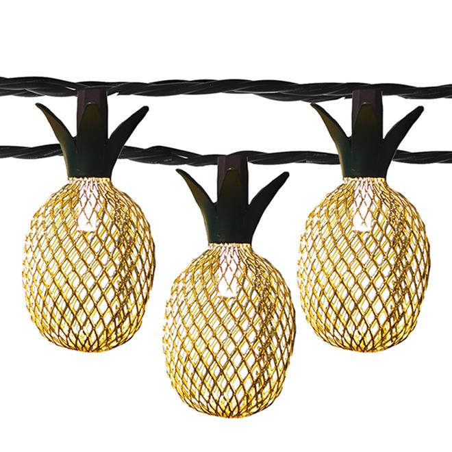 Jeux de 10 lumières DEL ananas en métal Danson Decor, blanc chaud