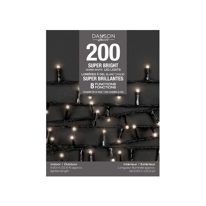 Jeu de 200 lumières brillantes F5 DEL Danson Decor à 8 fonctions, intérieur extérieur, blanc laiteux