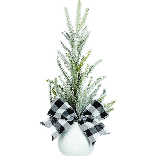 Arrangement en pot givré Holiday Living de 18 po avec boucle noir et blanc 1-paquet