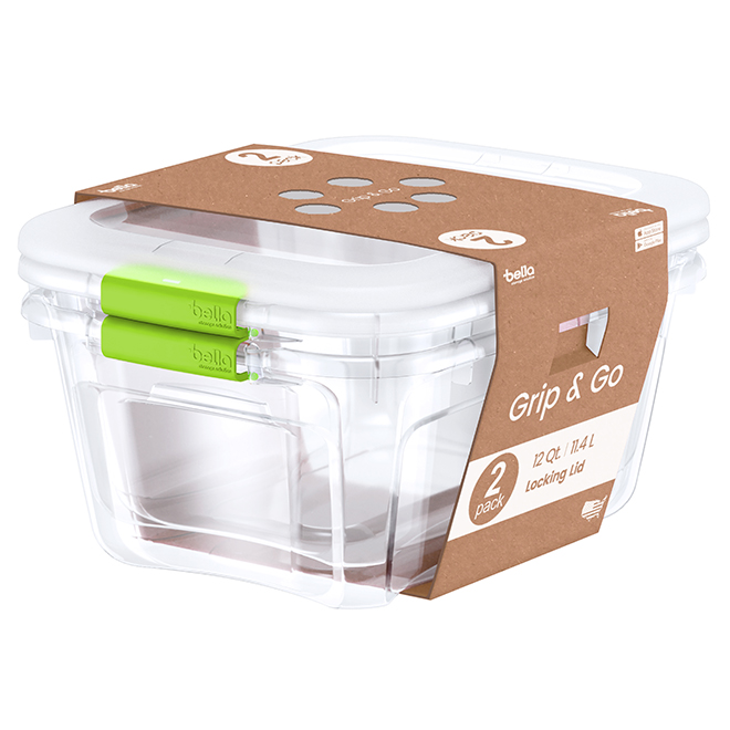 Bacs de rangement, 11,4 l, vert, paquet de 2