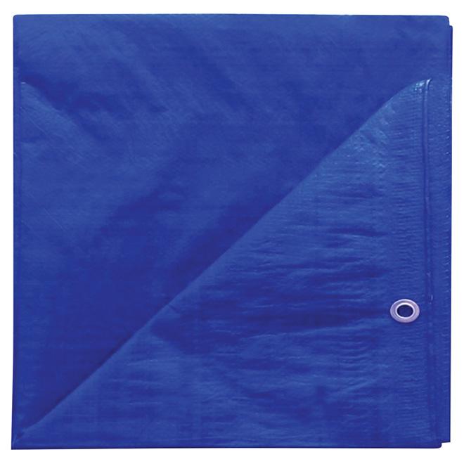 Bâche en polyéthylène, bleu - 8 pi x 10 pi