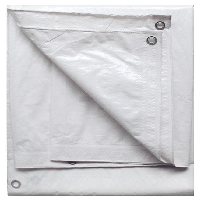 Bâche en polyéthylène, blanc -  30 pi x 50 pi