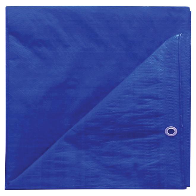 Bâche en polyéthylène, bleu - 10 pi x 12 pi