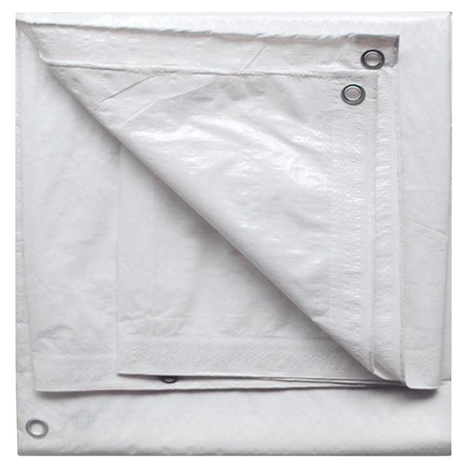Bâche en polyéthylène, blanc - 10 pi x 12 pi