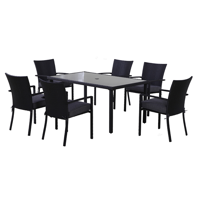 Allen + Roth Keating 7-Piece Outdoor Dining Set - Black