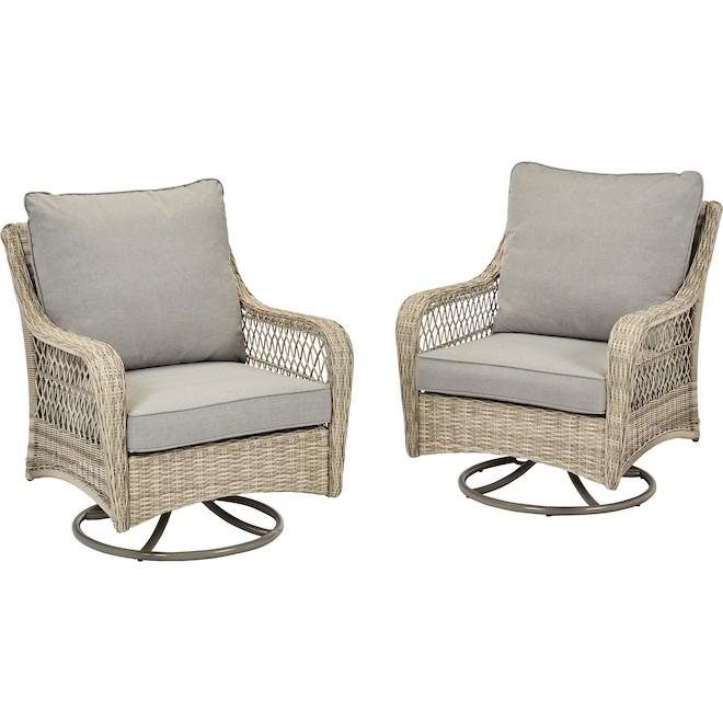 Chaise pivotante pour patio Parkview Boston par Allen + Roth, grise, ensemble de 2, acier, osier et oléfine
