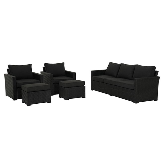 allen + roth Kelso Outdoor Furniture Set - 5 Pieces - Black