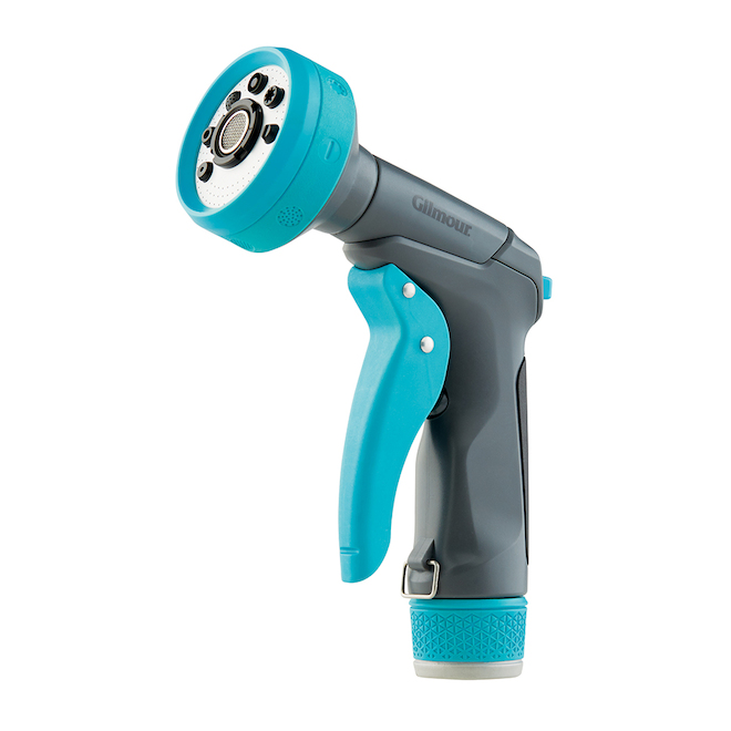 Pistolet d'arrosage ajustable, contrôle frontal, turquoise