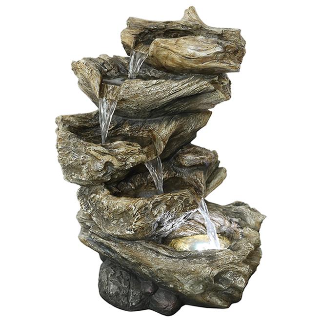 Fontaine bois de grève illuminée, Styles Selection, résine, 19,88 x 9,65 x 14,96 po, intérieur extérieur