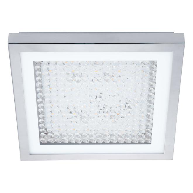 Plafonnier moderne carré à DEL Eglo Acolla, 16 W, 12,6 pouces, chrome