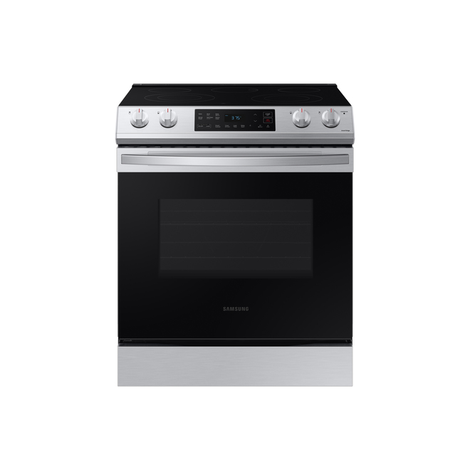 Samsung Slide-In Wi-Fi-Connected Voice-Controlled Electric Range - 30-in - 6.3-cu ft - Stainless Steel