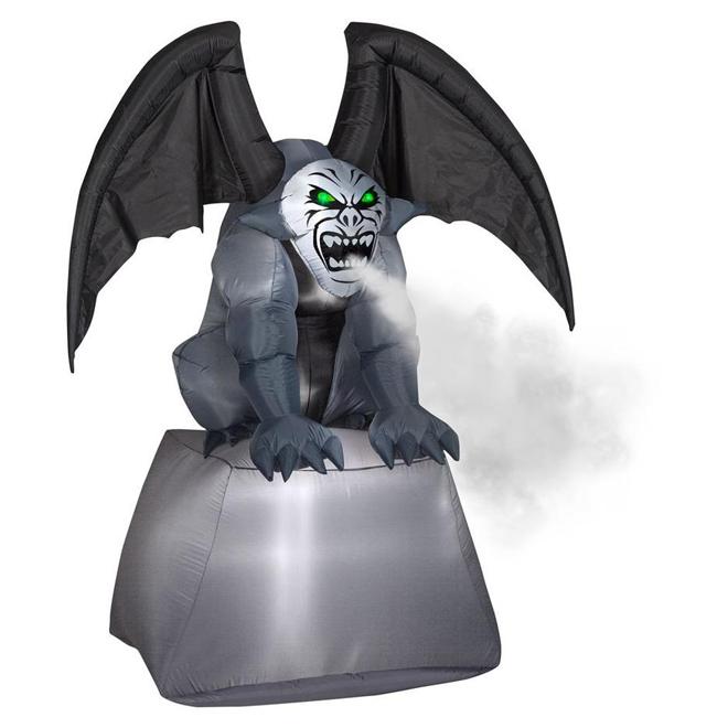 Inflatable Gargoyle on Pillar with Fog Effect - 6.9'