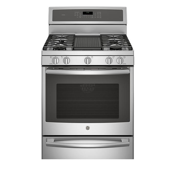 Cuisinière à gaz avec tiroir-réchaud, 5,6 pi³, acier inoxydable