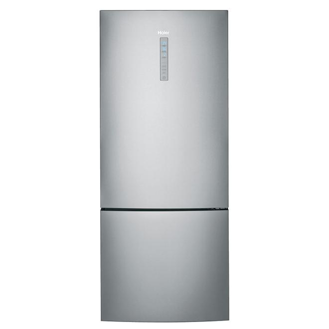 """Réfrigérateur à congélateur inférieur, 28"""", 15 pi³, inox"""