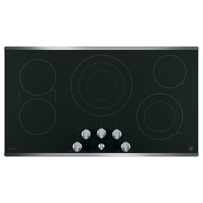 GE Profile Electric 36-in Cooktop with 5 Radiant Elements - Stainless Steel