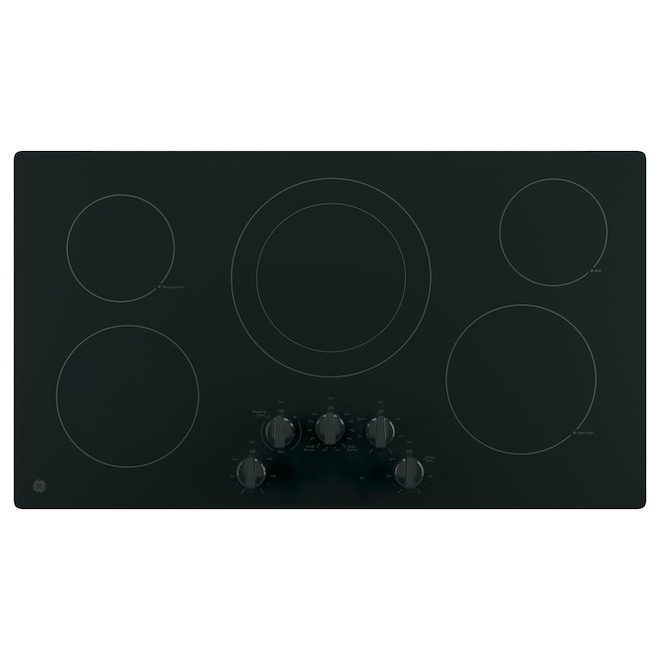GE 36-in 5-Element Electric Smooth Cooktop - Black on Black