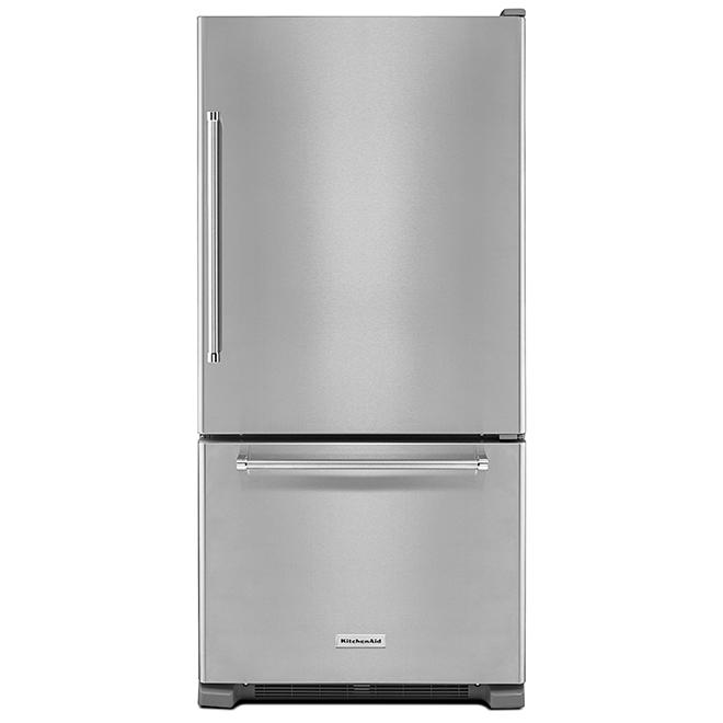 """Réfrigérateur à congélateur inférieur de 33"""", 22,1 pi³, inox"""