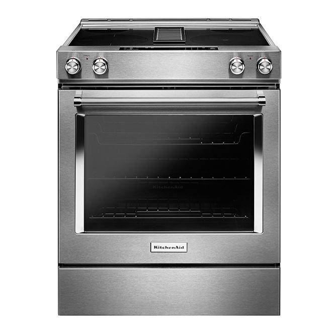 Cuisinière électrique à ventilation intégrée, 6,4 pi³, inox