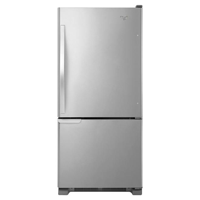 """Réfrigérateur à congélateur inférieur de 30"""", 19 pi³, inox"""