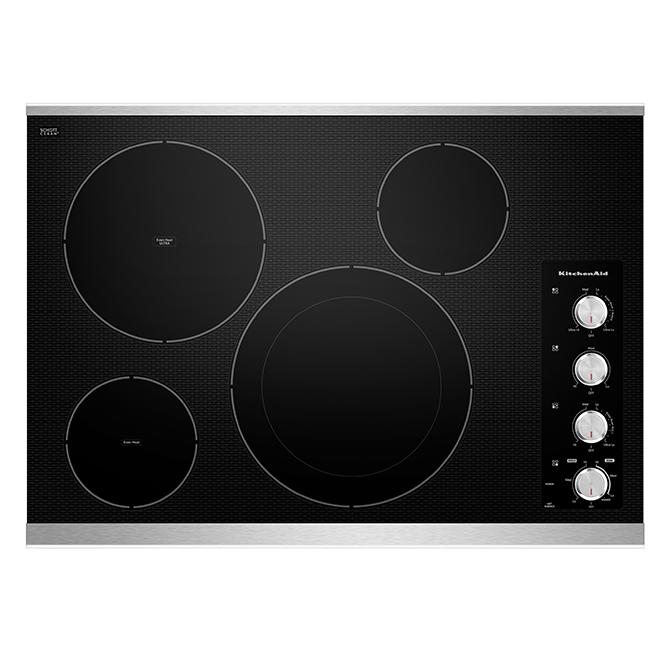 """Surface de cuisson électrique 30"""", noir/acier inoxydable"""
