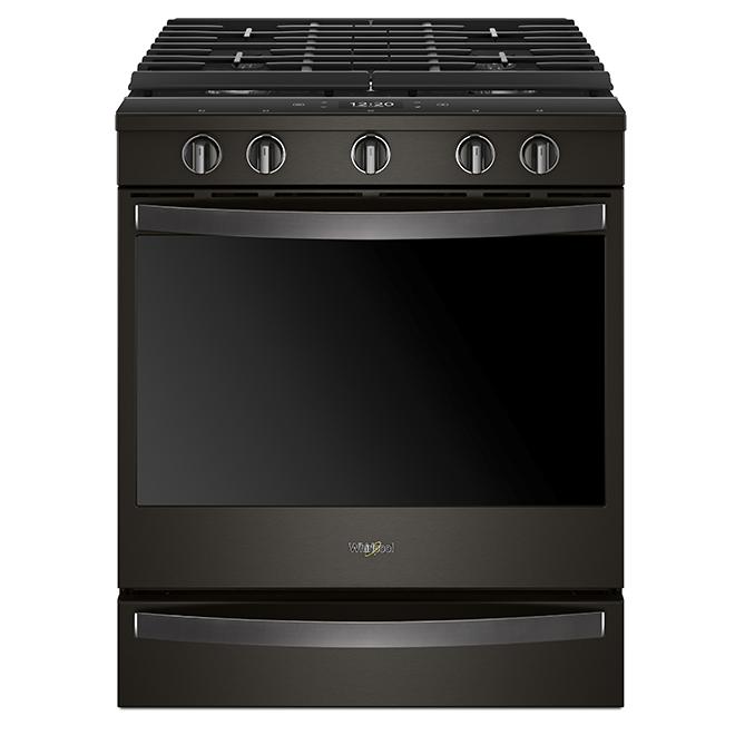 Cuisinière à gaz intelligente encastrable 5,8 pi³, inox noir