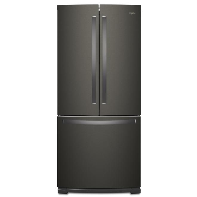 """Réfrigérateur à portes françaises, 30"""", 20 pi³, inox noir"""