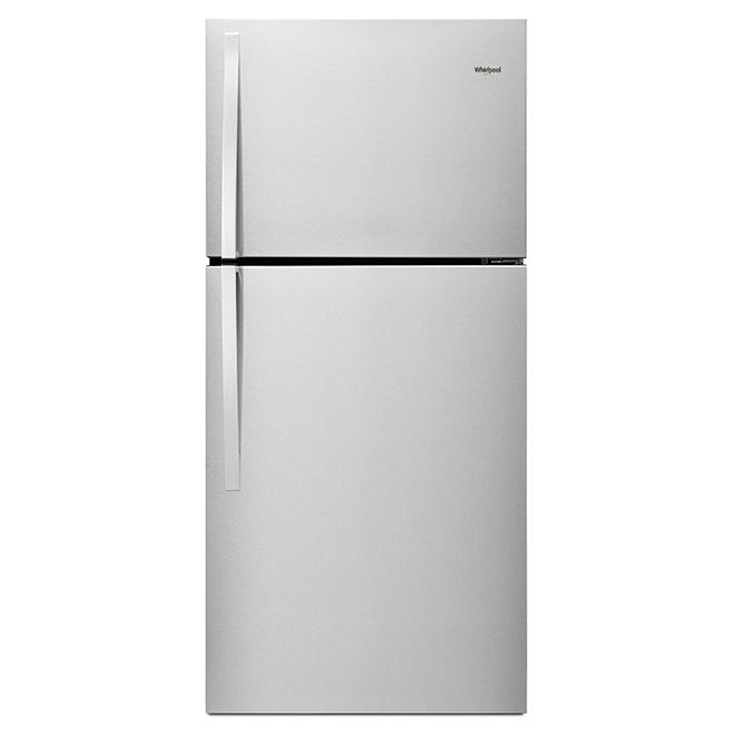 Réfrigérateur à congélateur supérieur, 19 pi³, acier inoxydable