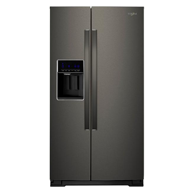 Réfrigérateur avec distributeur d'eau/glaçons, 28 pi³, acier noir