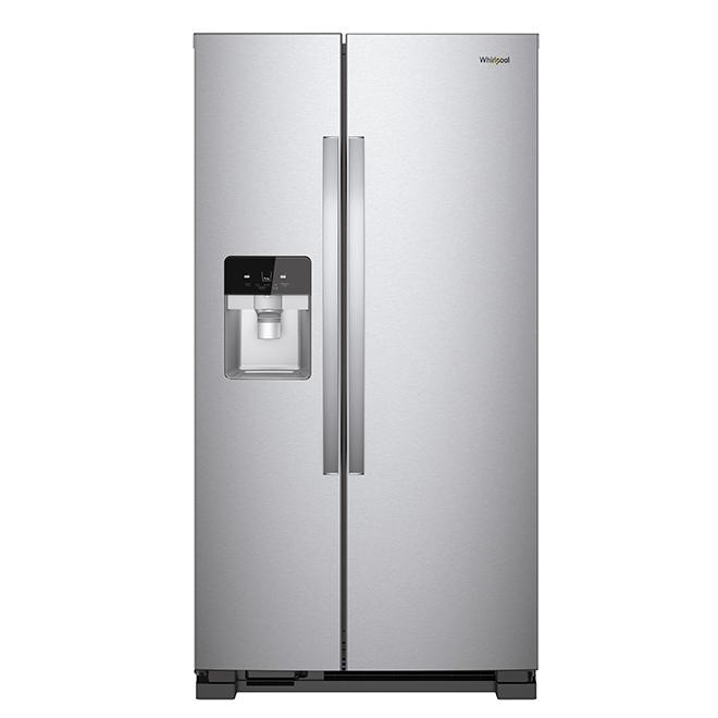 Réfrigérateur côte-à-côte, 25 pi³, acier inoxydable
