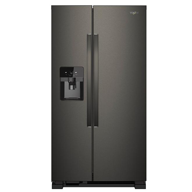 Réfrigérateur côte-à-côte, 25 pi³, acier noir