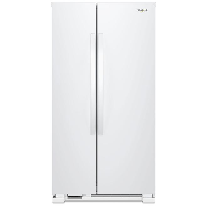 Réfrigérateur côte-à-côte, 25 pi³, blanc
