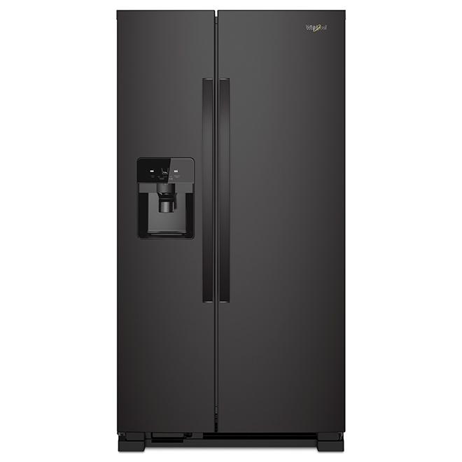 Réfrigérateur avec distributeur d'eau/glaçons, 21 pi³, noir
