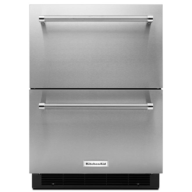 """Réfrigérateur à tiroir double KitchenAid, 24"""", 4,7 pi³, inox"""