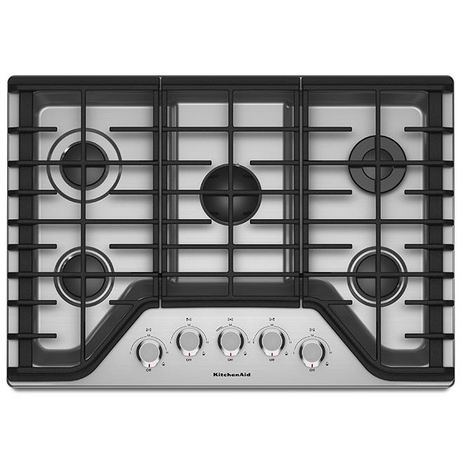 "Surface de cuisson au gaz KitchenAid(MD), 30"", 17 000 BTU, inox"