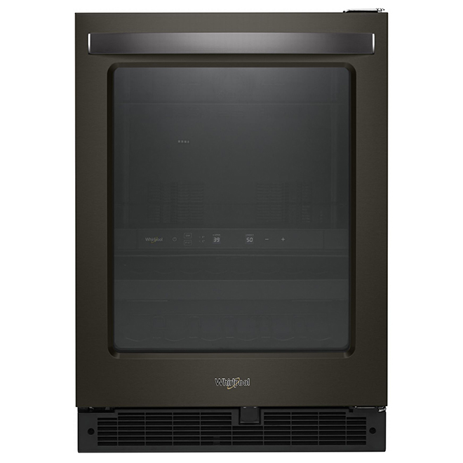 """Réfrigérateur Whirlpool pour rafraîchissements, 24"""", inox noir"""