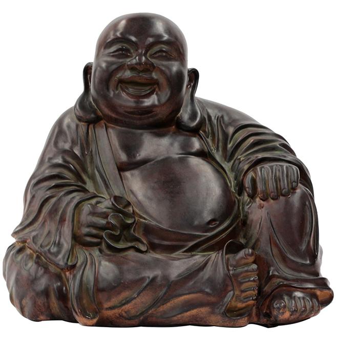 "Statue de Bouddha en fausse pierre, 11-3/4"", brun"