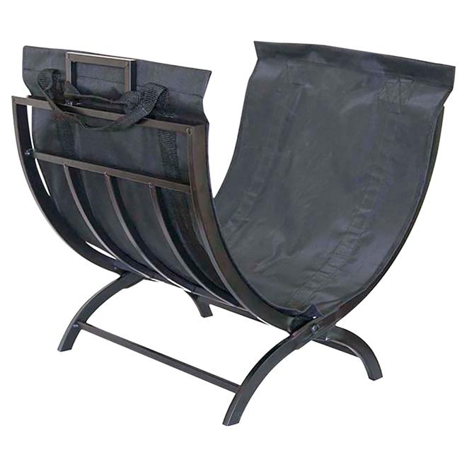 Support pliable et sac porte-bûches, noir