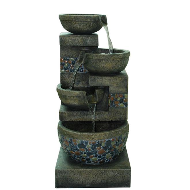 Fontaine Galet Styles Selections, résine, 32,4 po, gris