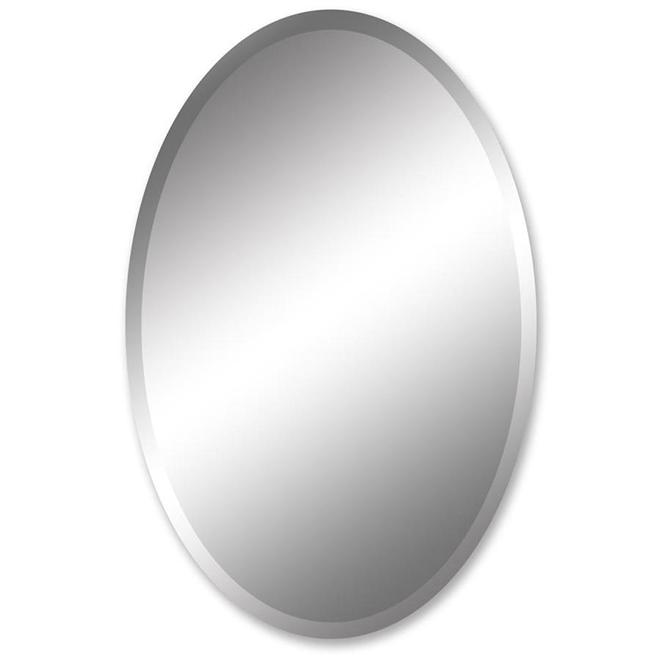 Frameless Beveled Edge Oval Wall Mirror 24