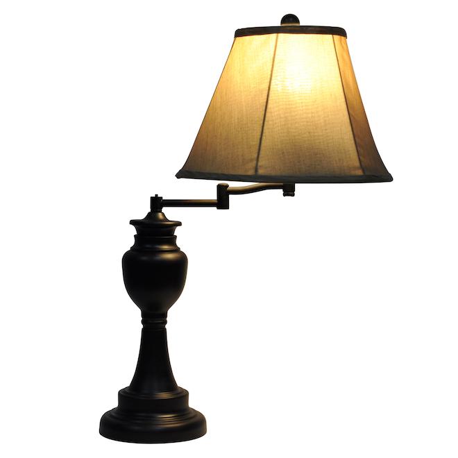 Lampe de table à bras pivotant de 60 W, bronze huilé