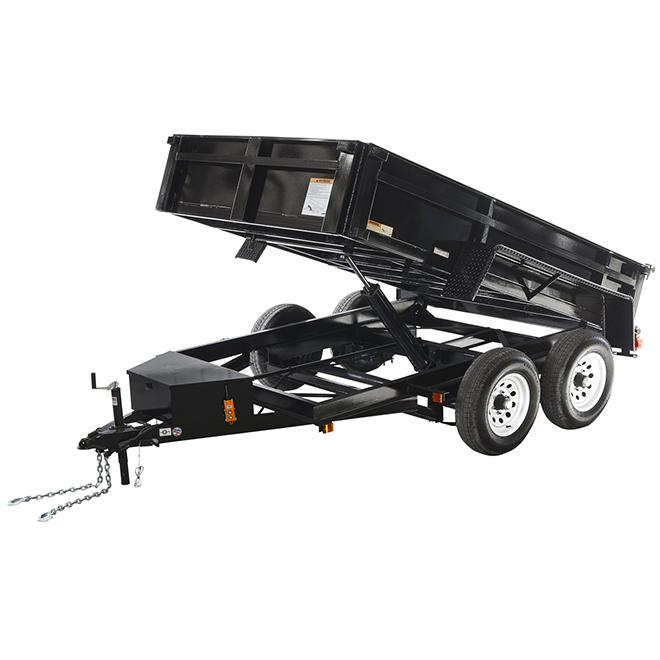 Remorque basculante hydraulique, 6' x 10', noir