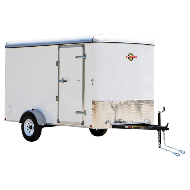 Enclosed Cargo Trailer with Ramp Door - White - 6' x 12'