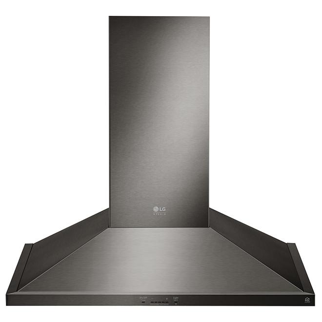 "LG Studio Wall Mount Chimney Hood - 30"" - 600 CFM - Black SS"