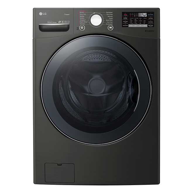 """LG Smart Front-Load Washer - 27"""" - 5.2 cu. ft. - Black Steel"""