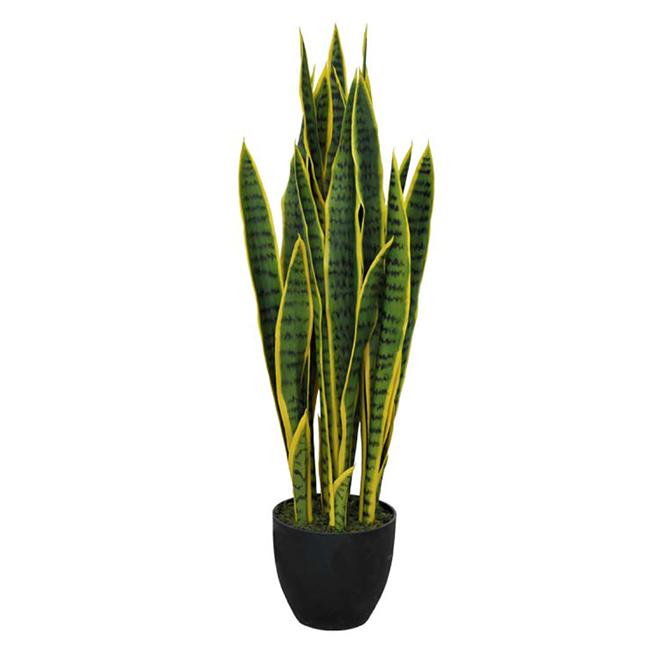 """Plante artificielle en pot de plastique, sansevière, 14"""""""